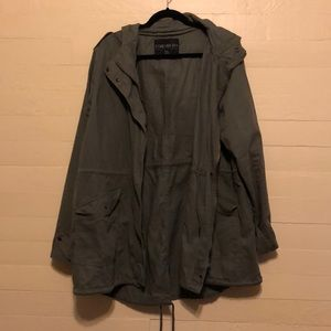 Forever 21 Army Green Hooded Utility Jacket